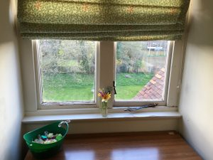 Flowers for Sylvia Plath on her bedroom window at Whistead, Newnham College